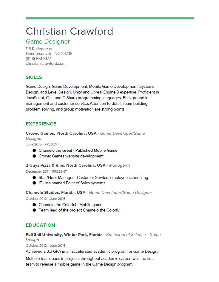 Resume – Christian L Crawford